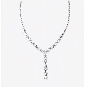 Statement Linear Stone Drop Paperclip Necklace